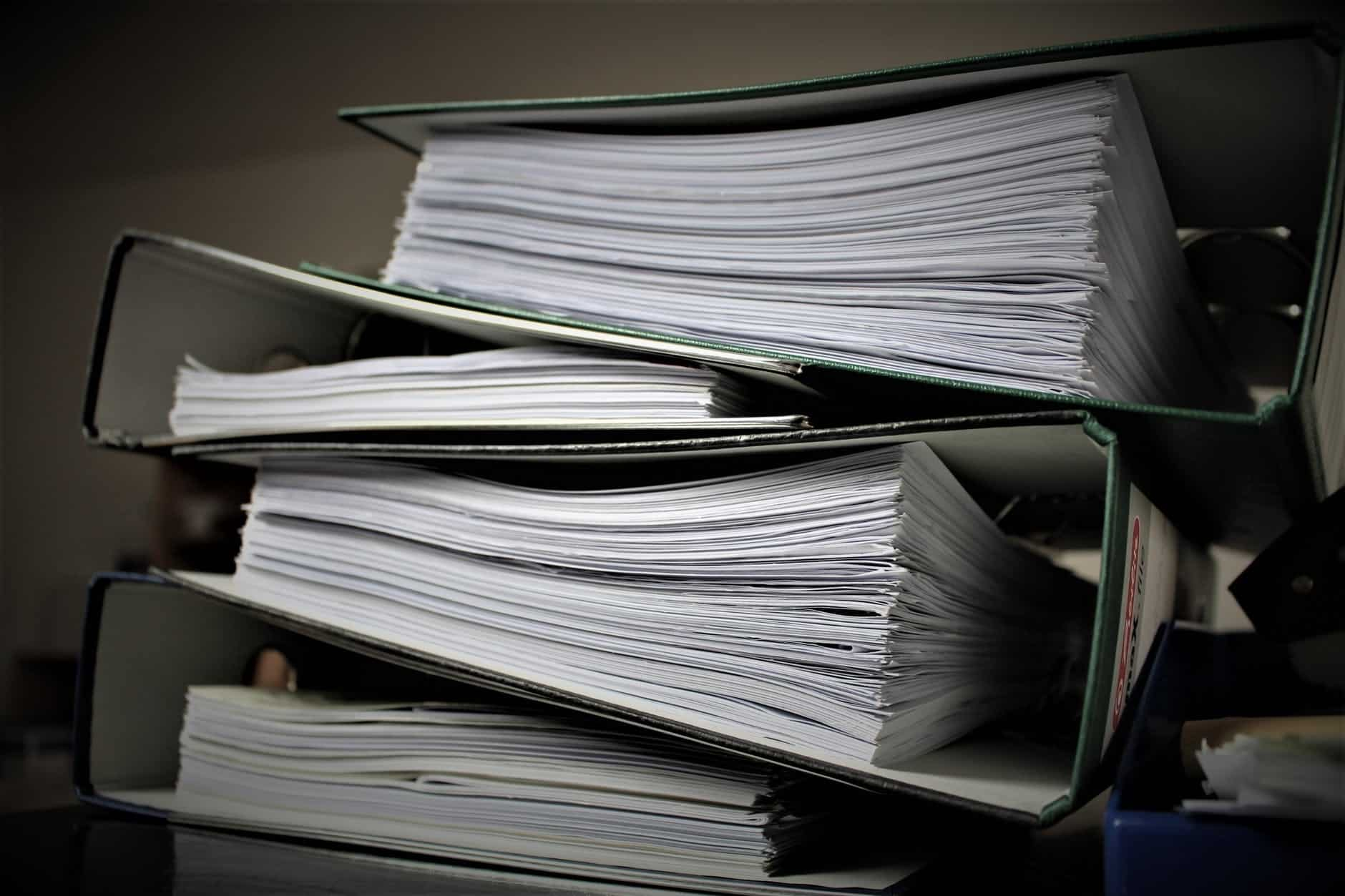 Binders of papers going over the VA rule change