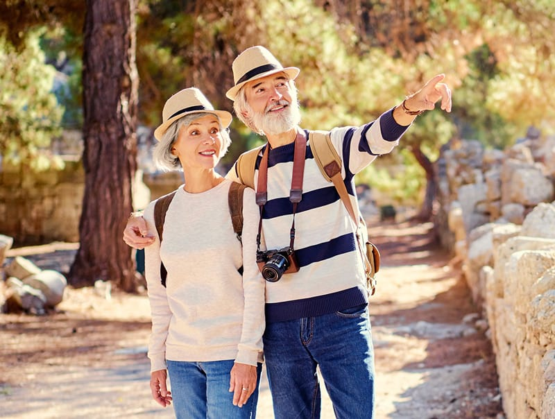 Lively Senior Couple Traveling and Pointing