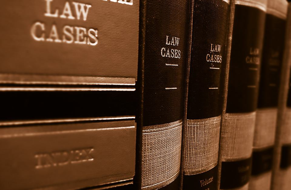Law cases books on shelf