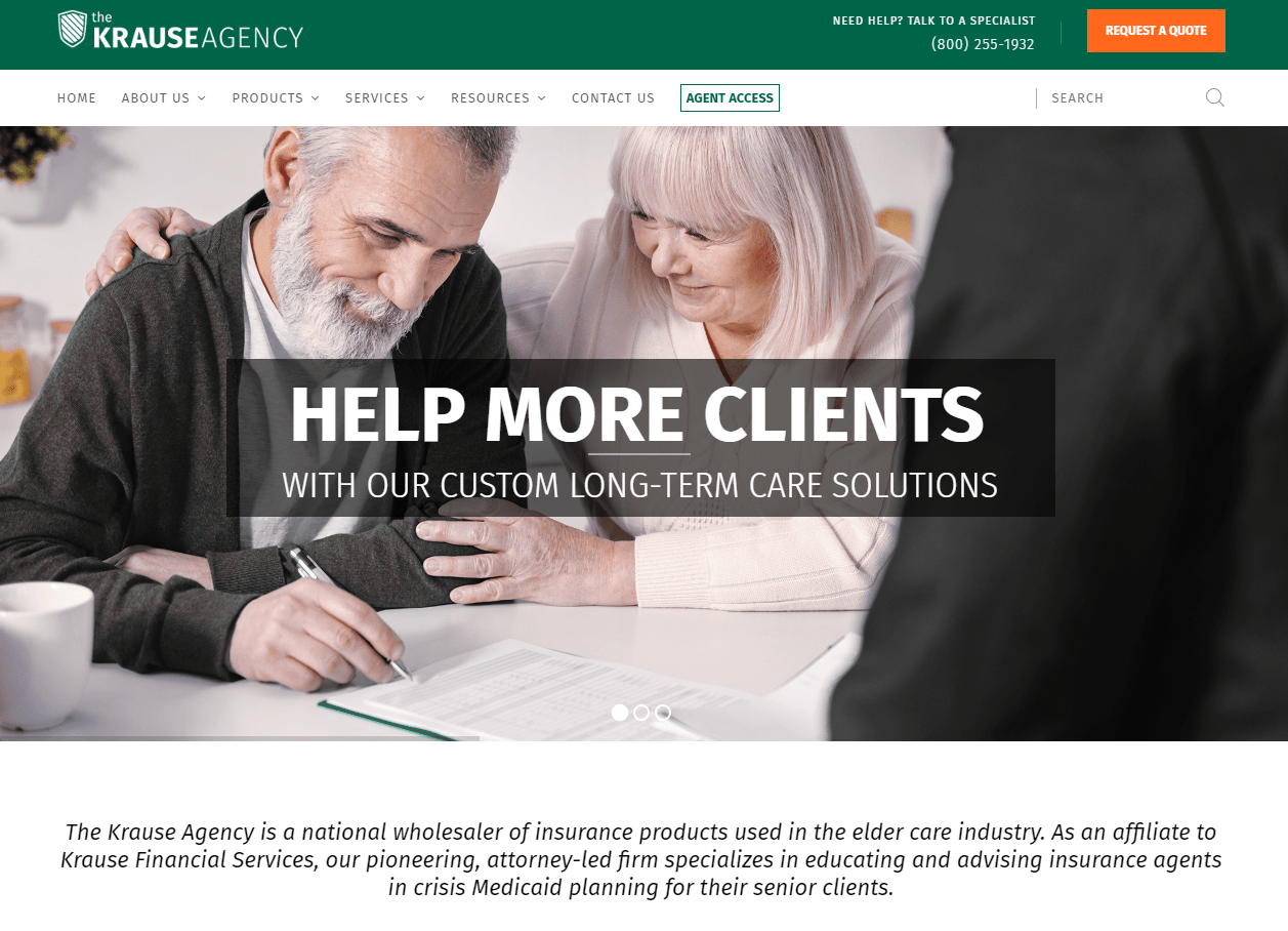 The Krause Agency website homepage