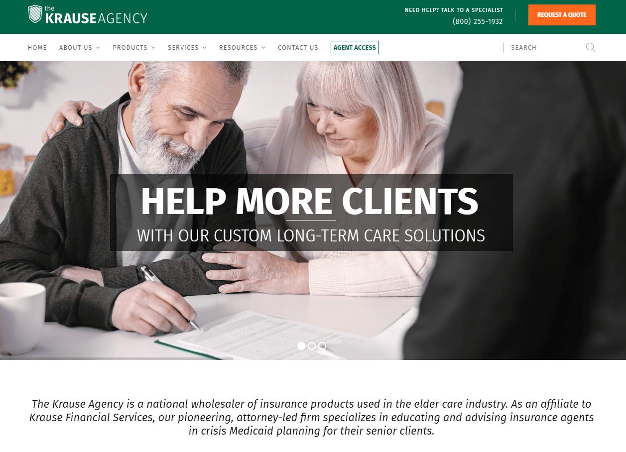 The Krause Agency website homepage