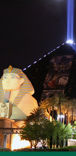 hotel exterior with sphynx and pyramid