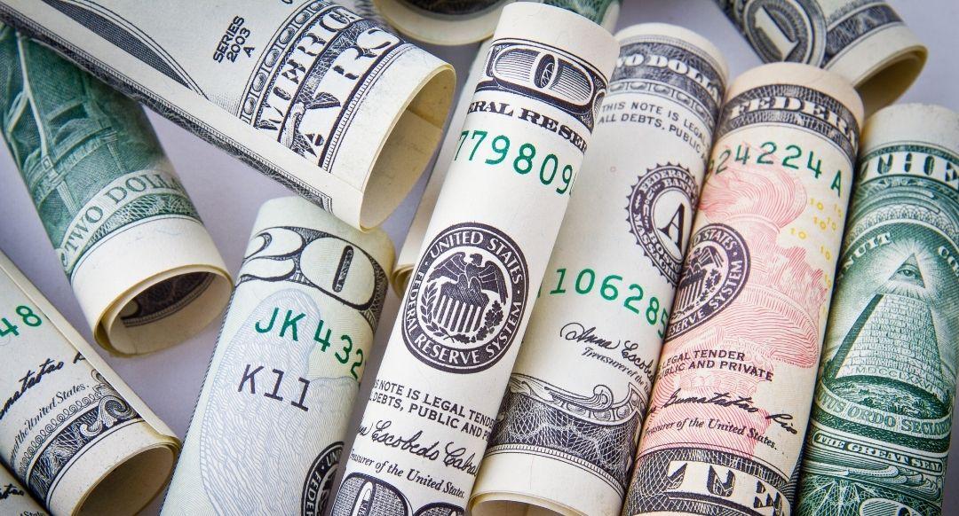 rolled up US dollar bills